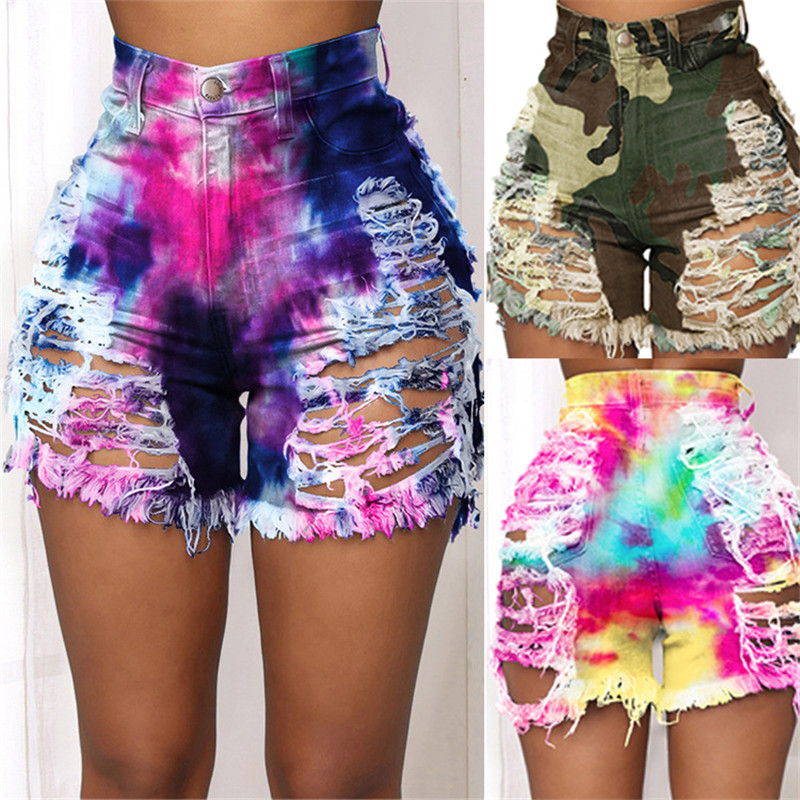New Arrival Women Summer Ripped Shorts Jeans Fashion Trendy Tie Dye Denim Shorts Street Hipster Shorts Plus Size Clothing S-4XL 1