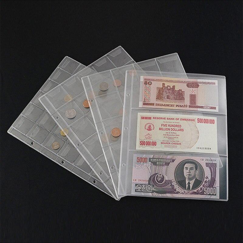 Лидер продаж, бумажный альбом для банкнот, 10 шт., держатель для коллекционирования страниц, листы с 3 отделениями, защитный бумажный альбом д...