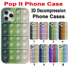 Pop it fidget Phone Case For IPHONE 12 PRO MAX/11 PRO/XS MAX/XR/78 Plus 3D Decompression Silicone Case Bubble Toy Fidget