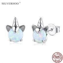 Silverhoo 925 prata esterlina bonito unicórnio colorido opala parafuso prisioneiro brincos para o casamento feminino pequenos brincos fino aniversário jóias