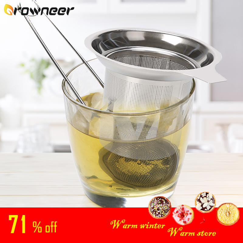 Tea Infuser Stainless Steel Tea Strainer Mesh Teapot Loose Tea Leaf Spice Filter Drinkware Kitchen Accessories Handle Clip