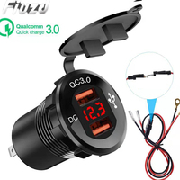 12 24V Metal display car charger Suitable for ships/motorcycles QC 3.0 car charger Suitable for boat/car/RV Mobile Phone adapter