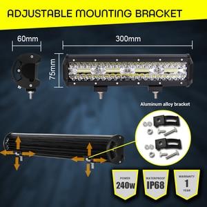 Image 4 - Work Light Bar LED 240W Led Bar Car 12V 12inch combo offroad worklight barra led 4x4 car accessories Fog Lights Spot Flood Lamps