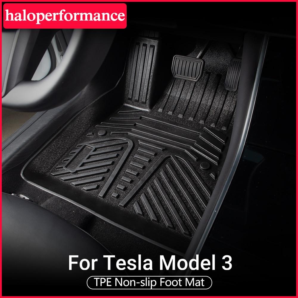 Model3-alfombrillas protectoras de TPE para Tesla, Modelo 3, accesorios para pies, antisuciedad, modelo tesla y