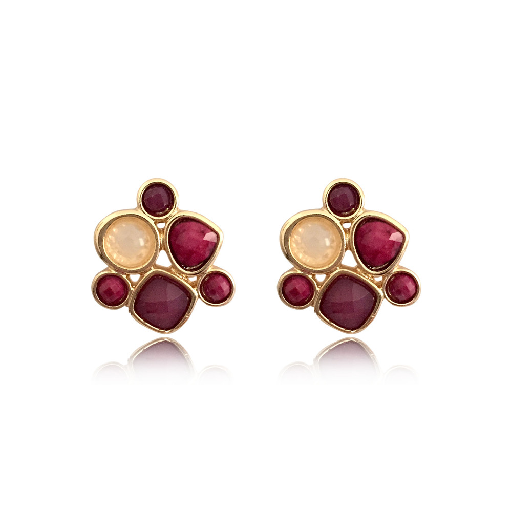 Elegant Gold Color Small Purple Burgundy Cream Stone Stud Earrings For Women Girl Office Lady Jewelry Dinner Party