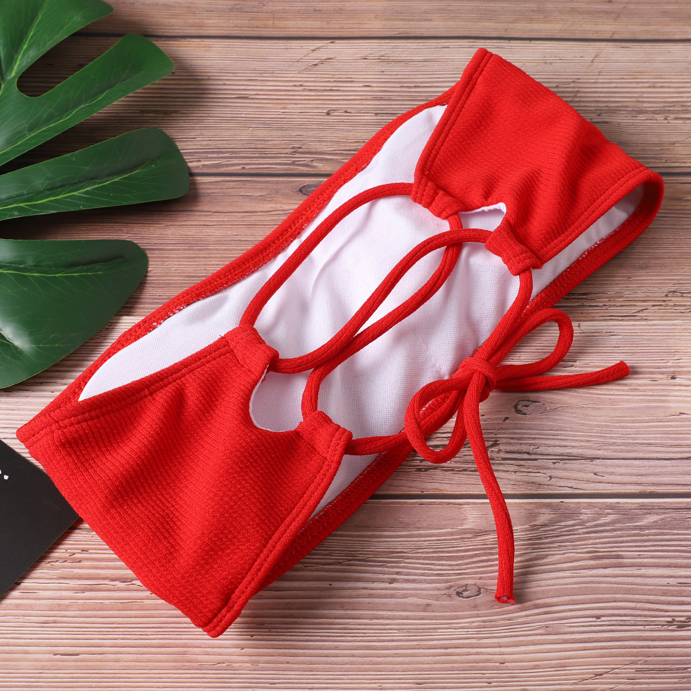 2020 New Bikini Women Swimwear High Waist Strapless Sexy Bikini Pure Color Women Swimsuit Padded Bathing Suit Monokin