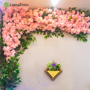 1Pcs cherry blossom tree Artificial Flowers 120cm Silk High simulation Wedding decoration home Decor Factory Direct Selling