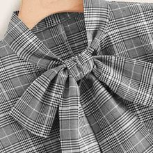 Grey Plaid Tie Neck Elegant Blouse