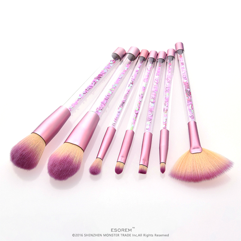 ESOREM 7pcs Transparent Makeup Brushes Soft Colourful Handle Foundation Brush Dense Fan Stippling Brochas Maquillaje T 07 063 in Eye Shadow Applicator from Beauty Health