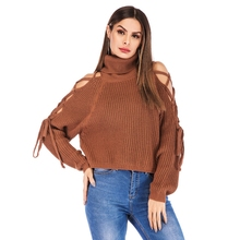 turtleneck sweater and pullovers autumn winter women lace up pull jumpers ladies Strapless runway knitted tops