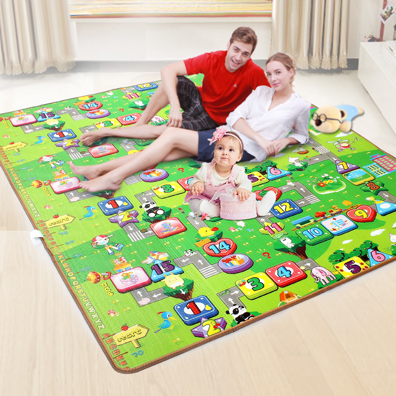 Baby Play Mat 0.5cm Thick Foldable Crawling Mat Double Surface Baby Carpet Rug Cartoon Game Playmat Developing Mat for Children