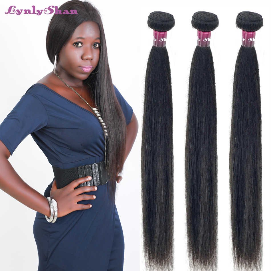 Lynlyshan Human Hair Indian Straight Hair Three Bundles Deal Remy Hair 10-30 Inch Natural Color Free Shipping