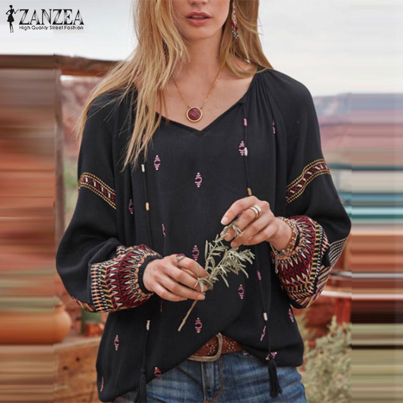 Top Fashion 2020 ZANZEA Autumn V Neck Blouse Women Lace Up Ethnic Printed Tunic Tops Casual Long Sleeve Work Shirt Femme Blusas
