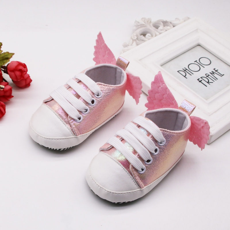 Newborn Infant Baby Girl Boy Butterfly First Walkers Cute Princess Canvas Shoes With Wings Lace-up Soft Sole 0-18MA