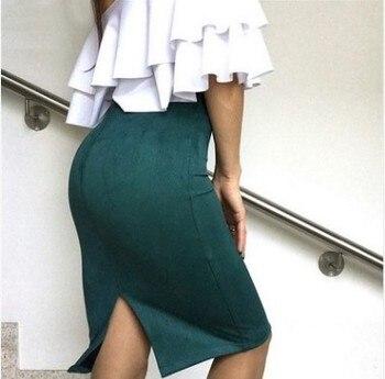 Women Skirt Suede Solid Color Office Pencil Skirt Female Spring Autumn Basic High Waist Bodycon Split Knee Length Skirts