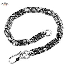 YKNRBPH S925 Silver Men's six word real word Bracelet retro Men Anniversary Thai silver bracelet Jewelry