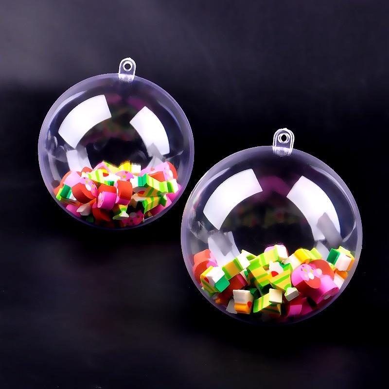 Adornos de bola de Navidad transparentes de 10 piezas adornos de plástico rellenos decoración de fiesta de boda DIY para el hogar - 6