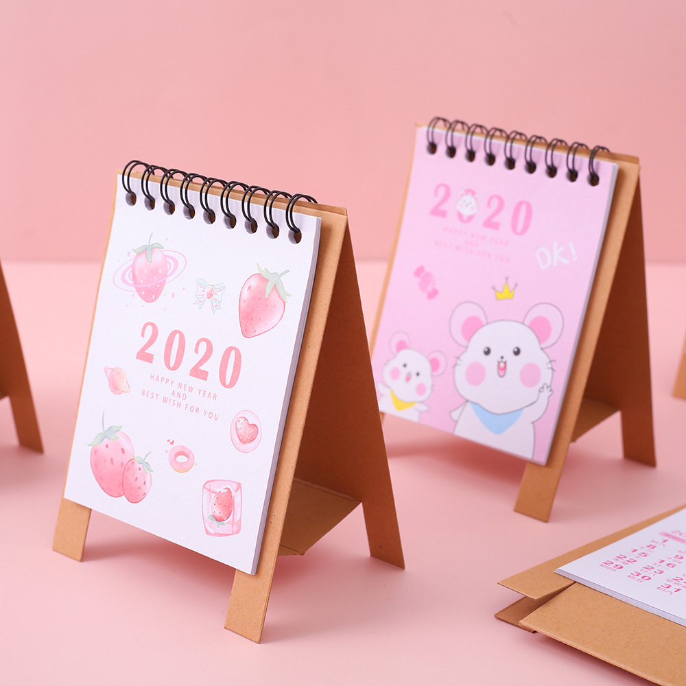 2020 Creative Cute Starry Sky Cat Whale Mini Desktop Paper Calendar Daily Scheduler Table Planner Yearly Agenda Organizer