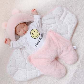0-6Months Autumn Baby Sleeping Bag Envelope For Newborn Baby Winter Swaddle Blanket Wrap Cute Sleeping Bags Solid Baby Bedding keying baby sleeping bags velvet with cap 2017 autumn