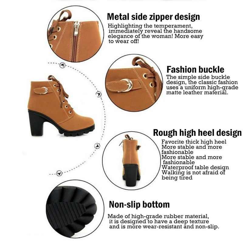Litthing kış kadın elbise ayakkabı yüksek topuk ayak bileği bağcığı patik ayakkabı kısa çizmeler rahat ayakkabılar toka ayakkabı botları kadın