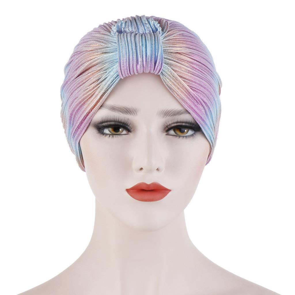 Image 4 - Индийский женский плиссированный головной шарф, шапка  мусульманский тюрбан, Chemo Turban Beanies, женские банданы, аксессуары  для волос, крышка капота, моднаяЖенские Skullies и шапочки   -