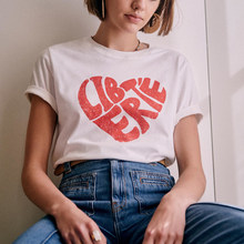 LIBERTE Heart Print T-Shirt Women Round Neck Short Sleeve Casual Cotton White Tees Tops Summer 2021 Vintage T-Shirts Femme