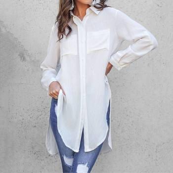 Elegant Long Sleeve White Blouse  1