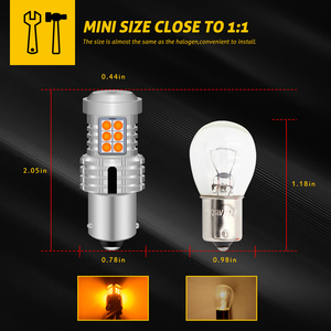 Image 2 - Katur 2 adet Canbus 1156 PY21W BAU15S led sinyal lambası ampuller hata ücretsiz yok Hyper flaş 20smd 2400 lümen Amber sarı kırmızı