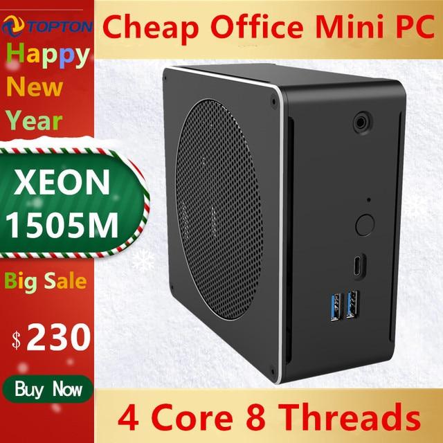 Topton Mini PC Intel Xeon E3 1505M v5 4 Core 8 Threads 2.80 GHz Desktop Computer Win10 Pro 16GB DDR3L AC Wifi 4K Mini DP HDMI