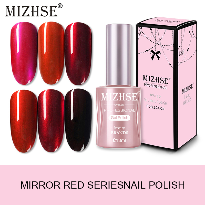 MIZHSE Mirror Nail-Gel Polish Needed Silver-Base Metal Red-Color Varnish Soak-Off Enamels