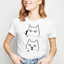 Funny cat graffiti t shirts women harajuku kawaii clothes top female t-shirt femme humor shirt graphic tees 90s streetwear