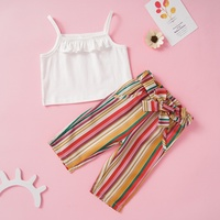 Fashion Girls Outfits Clothing Sets Summer Thin Slim Cool Sleeveless Casual Short Blouse Vest+Loose Stripe Pant Kids Clothes Set
