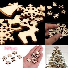 ZOTOONE 100pcs Christmas Decoration Wooden Snowflake Tree Deer Natural DIY Hanging Ornaments F