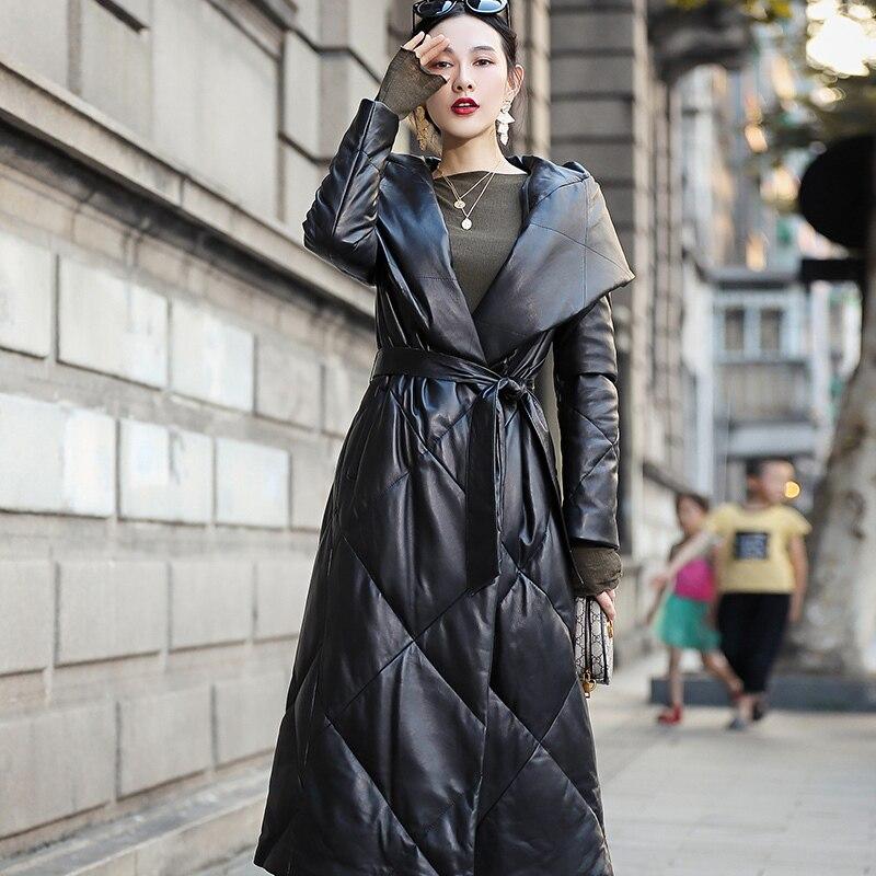 Leather Genuine 2020 Jacket Winter Coat Women Warm Down Jacket Women Long Real Sheepskin Coat Chaqueta Mujer Qbl-yr02