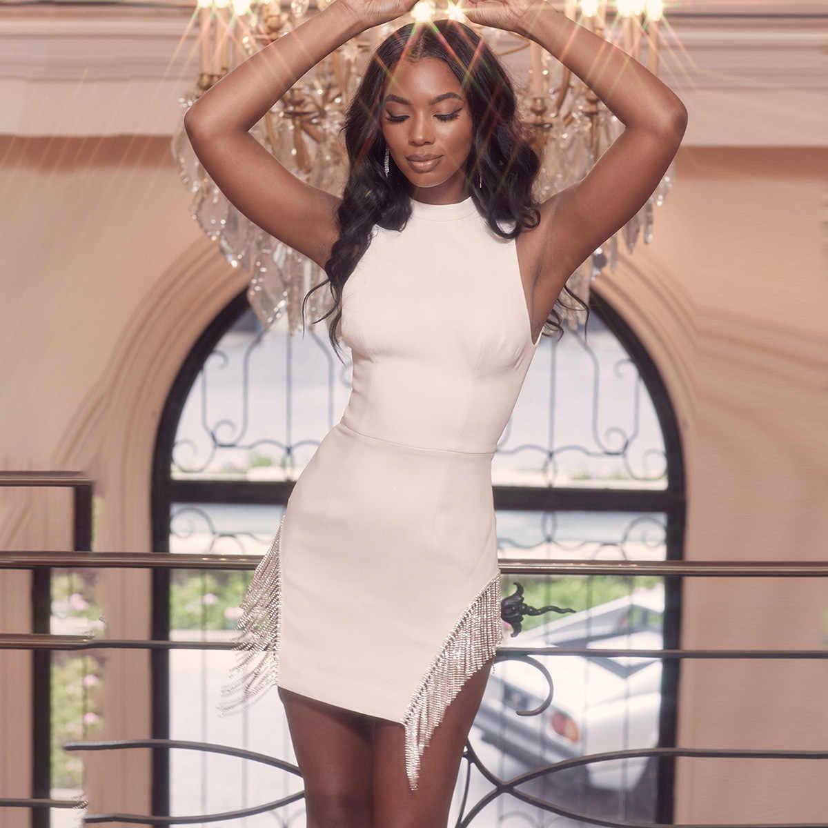 Justchicc סתיו אופנה לבן שמלת Bodycon צד ציצית סקסי שמלות נשים קצר Robe Femme מסיבת Nigthclub Vestidoes 2019