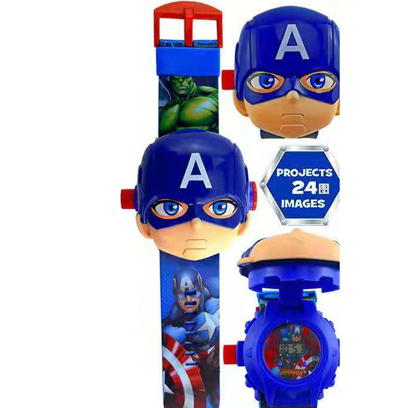 H096a398871f749abb63f96c0083d7246u - The 3 D Projection Children Watch Cartoon Ultraman Spiderman Ironman Princess Digital Watches Kids Watches Toy