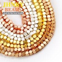 JHNBY Opaco Sfaccettato Quadrato di 2 millimetri Ematite perline di Pietra Naturale Branelli Allentati del distanziatore Per Monili Che Fanno Fai Da Te Accessori braccialetto di Fascino