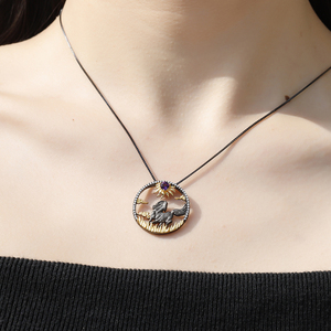 Image 2 - GEMS BALLET Natural Amethyst  Zodiac Jewelry 925 Sterling Silver Handmade Sun & Horse Gemstone Pendant Necklace For Women