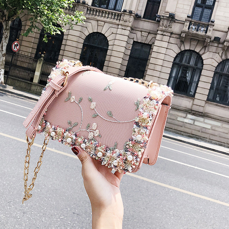 Fashion Transparent Chain Metal Buckle Women Small Square Pack Embroidery Pearl Design Female Crossbody Bag Flap Trend Girl Tote