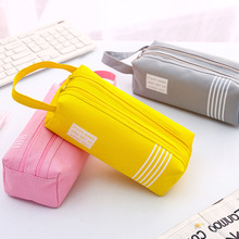 Canvas large-capacity double-layer pencil bag junior high school multifunctional fresh for male and female college