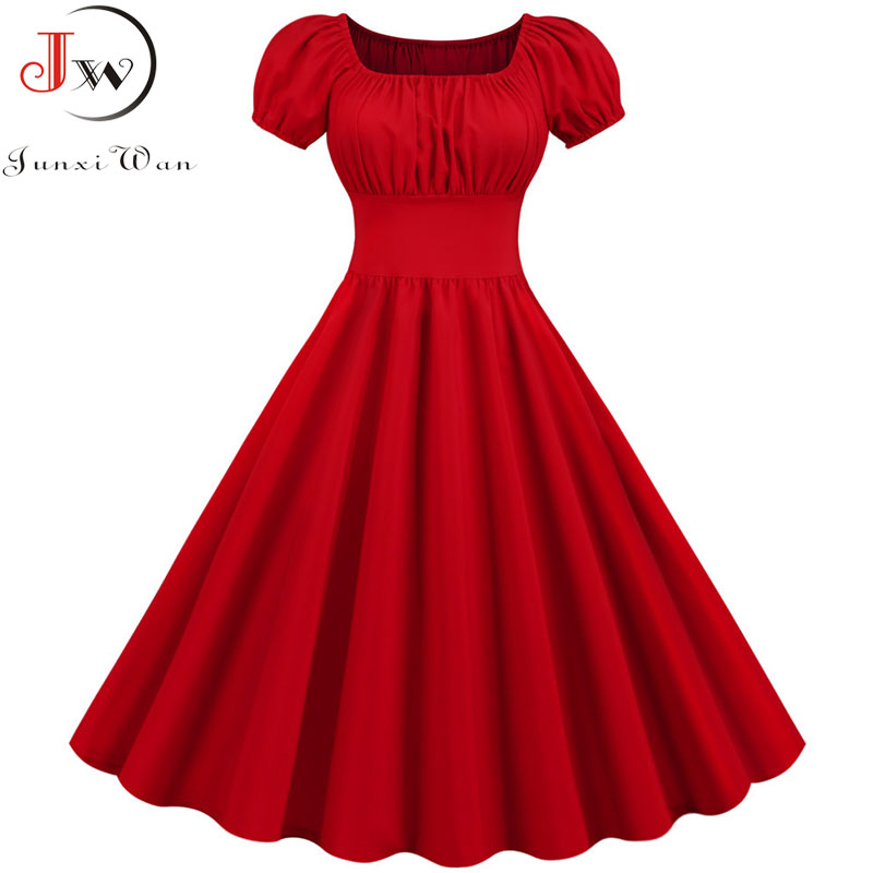Women Vintage Dress Robe Femme Summer Puff Sleeve Square Collar Solid Red Color Elegant Party Plus Size Casual Office Midi Dress