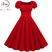 Kobiety sukienka Vintage szata Femme letnia, z bufkami kwadratowy kołnierzyk jednolita, czerwona kolor elegancki Party Plus rozmiar na co dzień biurowa, o średniej długości sukienka