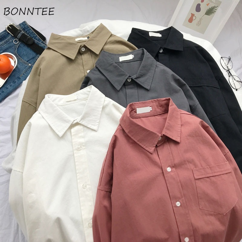 Shirts Women Candy Color Loose BF Simple Soft Comfortable 2XL All-match School Unisex Couples Shirt Korean Style Chic Harajuku