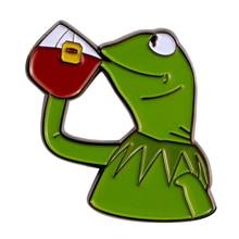 Но это не мое Бизнес Кермит брошь забавные Лягушка-броши в виде ящерицы мем значок питьевой льда Чай чат жест Декор