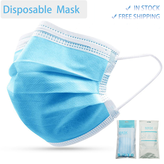50 Pcs/Lot 3 Layer Face Mask Non woven Breathable Safe Mouth Masks Disposable Face Mouth Masks