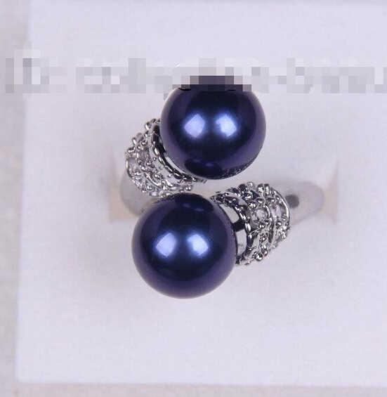 1021 + + + потрясающее большое 10 мм круглое синее Южное море жемчужное кольцо