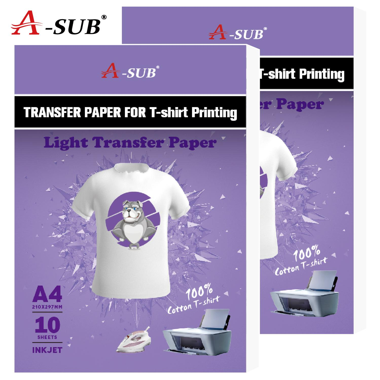 Light T-shirt Transfer Paper Iron-On For Cotton Cloth 10 Sheets 100% Inkjet Transfer With Gift