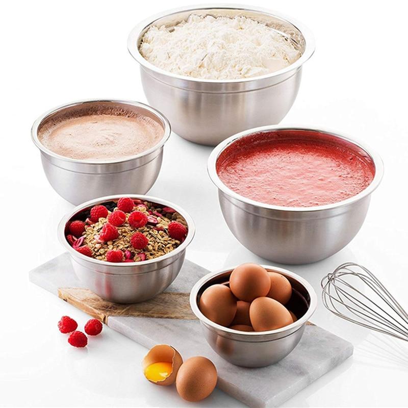 Миска для смешивания из нержавеющей стали(набор из 6), миска для фруктового салата, миска для хранения, набор кухонных салатников