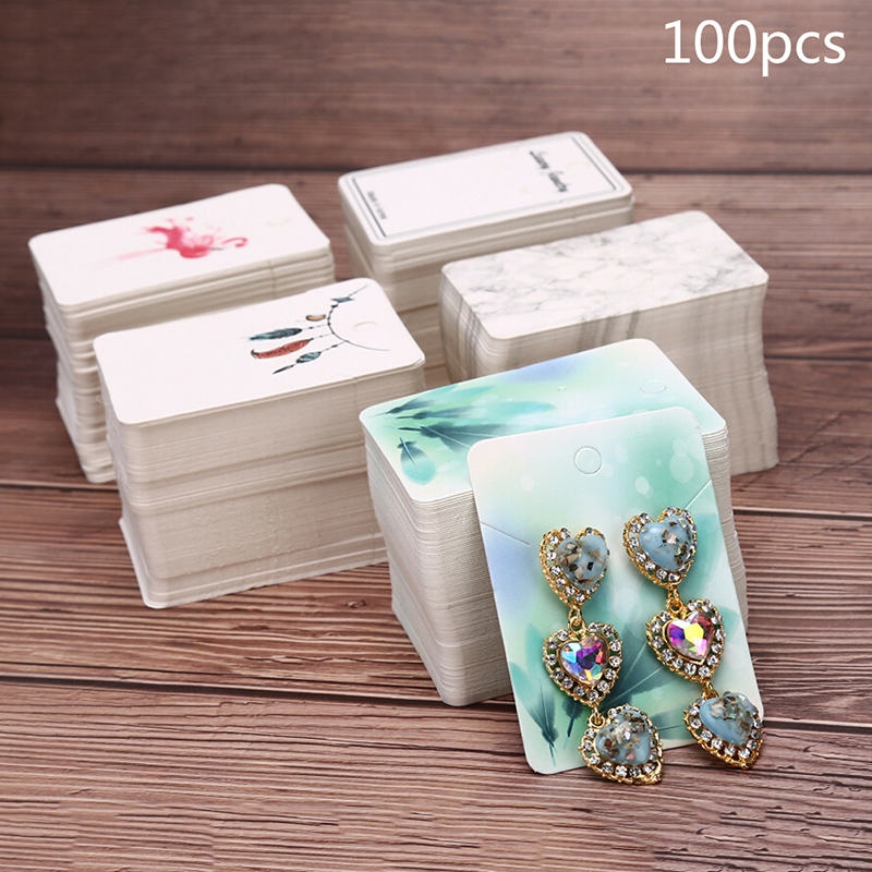 100pcs/Set Paper Cute Stud Earring HangTag Card Custom Logo Cost Extra Jewelry Display Packing Card Multi Color image