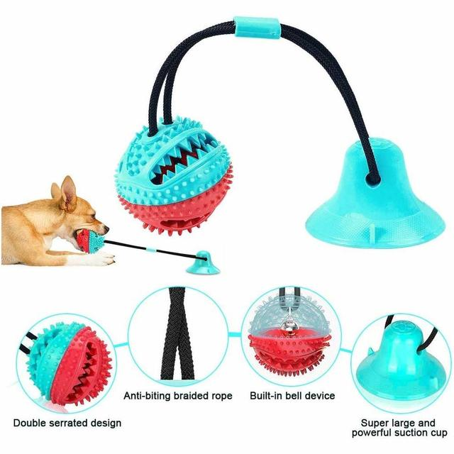 Dog Molar Bite Toy Multifunction Pet Chew Toys with Suction Cup Doggy Pull Ball for Dogs Cats Cleaning Tooth Food Dispenser NEW 3